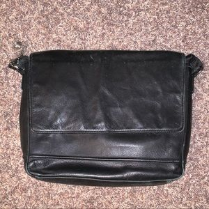 John Varvatos Black Leather Messenger Bag